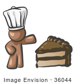 #36044 Clip Art Graphic Of A Brown Guy Character Chef With Cake