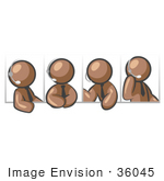#36045 Clip Art Graphic Of Brown Guy Characters Talking On Headsets