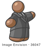 #36047 Clip Art Graphic of a Brown Guy Character in a Suit, Pointing by Jester Arts