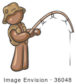 #36048 Clip Art Graphic of a Brown Guy Character Fishing by Jester Arts