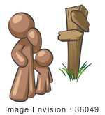 #36049 Clip Art Graphic Of A Brown Guy Character And Child At A Crossroads