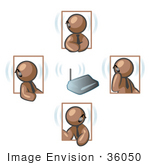 #36050 Clip Art Graphic Of Brown Guy Characters On Headsets Holding A Meeting
