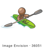 #36051 Clip Art Graphic Of A Brown Guy Character Kayaking