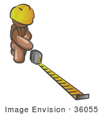 #36055 Clip Art Graphic Of A Brown Guy Character Measuring
