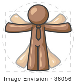 #36056 Clip Art Graphic of a Brown Guy Character Vitruvian Man by Jester Arts