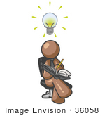 #36058 Clip Art Graphic Of A Brown Guy Character Jotting Ideas Down In A Notebook