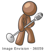 #36059 Clip Art Graphic Of A Brown Guy Character Singing On Stage