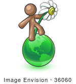 #36060 Clip Art Graphic Of A Brown Guy Character With A Daisy On The Globe