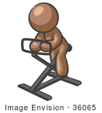 #36065 Clip Art Graphic of a Brown Guy Character Using a Stationary Bike by Jester Arts