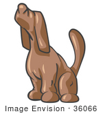 #36066 Clip Art Graphic Of A Brown Dog Howling
