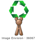 #36067 Clip Art Graphic Of A Brown Guy Character Holding Recycle Arrows