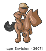 #36071 Clip Art Graphic Of A Brown Guy Character Jockey On A Horse