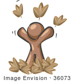 #36073 Clip Art Graphic of a Brown Guy Character Throwing Leaves by Jester Arts