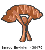 #36075 Clip Art Graphic Of A Brown Guy Character Holding Www