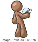 #36076 Clip Art Graphic Of A Brown Guy Character Reading Paperwork