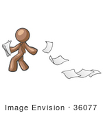 #36077 Clip Art Graphic Of A Brown Guy Character Dropping Papers