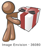 #36080 Clip Art Graphic Of A Brown Guy Character Holding A Gift