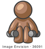 #36091 Clip Art Graphic Of A Brown Guy Character Lifting Weights