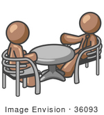 #36093 Clip Art Graphic of Brown Guy Characters Sitting at a Table by Jester Arts