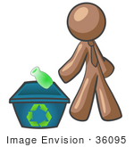 #36095 Clip Art Graphic of a Brown Guy Character Recycling by Jester Arts