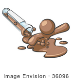 #36096 Clip Art Graphic Of A Brown Guy Character Spilling From A Test Tube