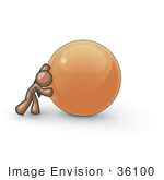#36100 Clip Art Graphic of a Brown Guy Character Pushing a Ball by Jester Arts