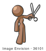 #36101 Clip Art Graphic of a Brown Lady Character Holding Scissors by Jester Arts