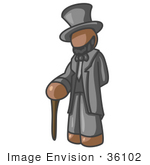 #36102 Clip Art Graphic Of A Brown Guy Character As Abraham Lincoln