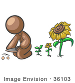 #36103 Clip Art Graphic Of A Brown Guy Character Planting Flowers