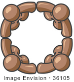 #36105 Clip Art Graphic Of Brown Guy Characters In A Circle