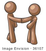 #36107 Clip Art Graphic Of Brown Guy Characters Shaking Hands