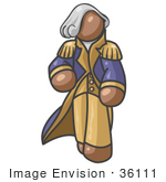 #36111 Clip Art Graphic Of A Brown Guy Character As George Washington