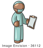 #36112 Clip Art Graphic Of A Brown Guy Character Surgeon
