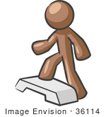 #36114 Clip Art Graphic Of A Brown Guy Character Stepping In A Gym