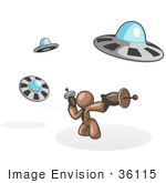 #36115 Clip Art Graphic Of A Brown Guy Character Fighting Ufos
