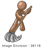 #36118 Clip Art Graphic Of A Brown Guy Character Mopping