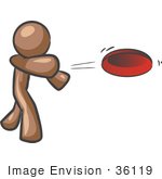 #36119 Clip Art Graphic Of A Brown Guy Character Throwing A Frisbee