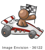 #36122 Clip Art Graphic Of A Brown Guy Character Racing A Car