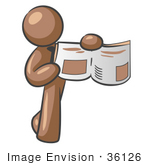 #36126 Clip Art Graphic Of A Brown Guy Character Holding An Open Book