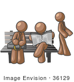 #36129 Clip Art Graphic Of Brown Guy Characters At A Bus Stop