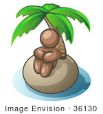#36130 Clip Art Graphic Of A Brown Guy Character On An Island