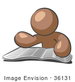 #36131 Clip Art Graphic Of A Brown Guy Character Reading An Open Book