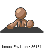 #36134 Clip Art Graphic Of A Brown Guy Character At A Desk
