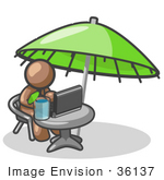 #36137 Clip Art Graphic Of A Brown Guy Character Working Under An Umbrella