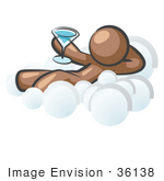 #36138 Clip Art Graphic Of A Brown Guy Character Drinking On A Cloud