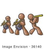 #36140 Clip Art Graphic Of Brown Guy Characters Playing In A Band