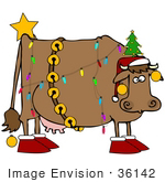 #36142 Clip Art Graphic Of A Christmas Cow Decorated Like A Tree