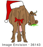 #36143 Clip Art Graphic of a Silly Christmas Cow Chewing on Grass, a Santa Hat on His Butt by DJArt