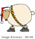#36146 Clip Art Graphic Of A Festive Christmas Sheep With Jingle Bells And A Santa Hat
