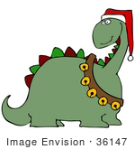#36147 Clip Art Graphic Of A Festive Christmas Dinosaur With Jingle Bells And A Santa Hat